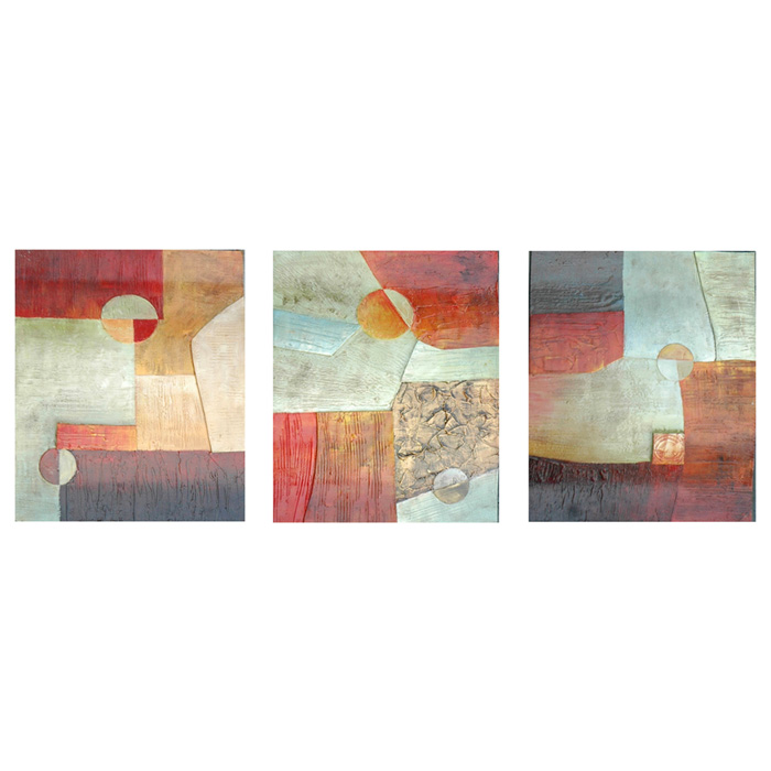 Missing Pieces 3 Panel Abstract Painting