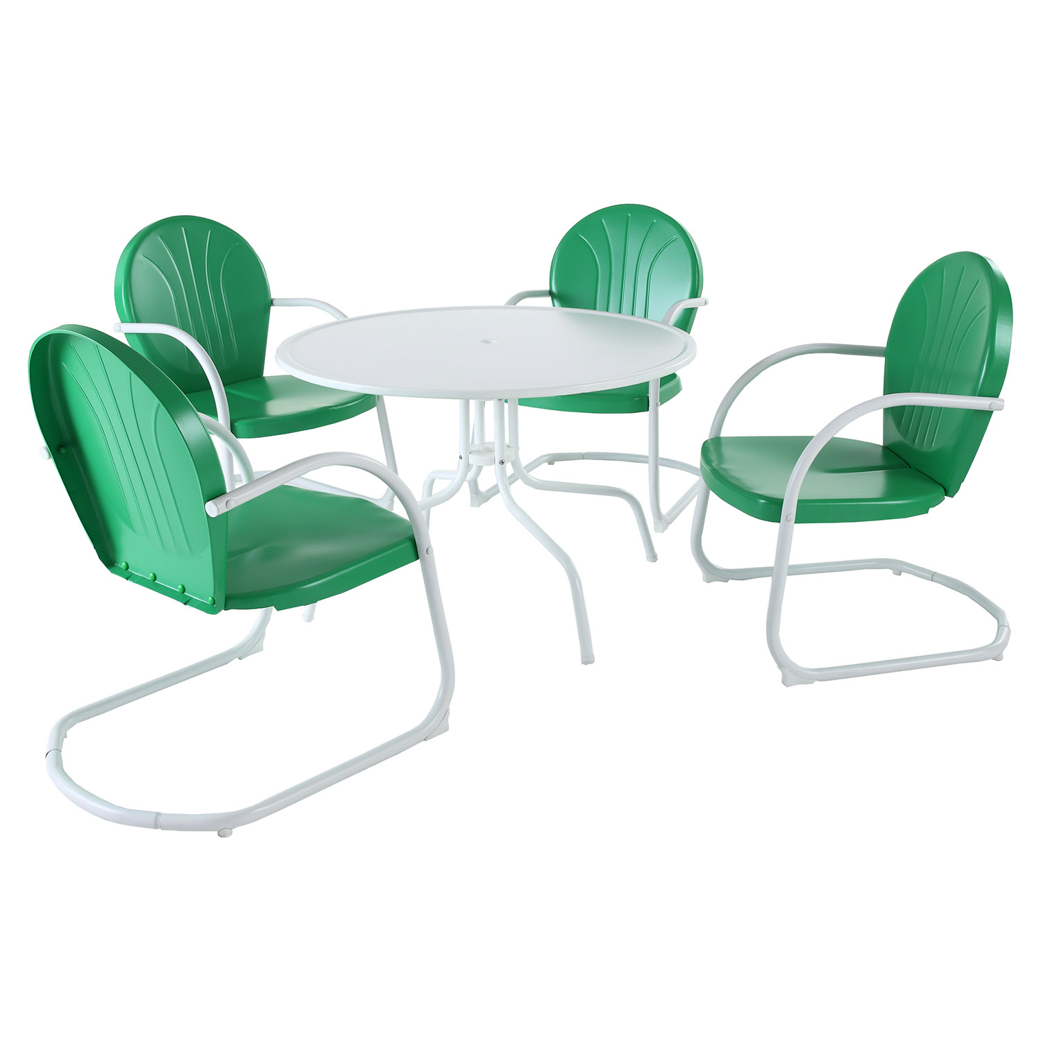 "Griffith Metal 40"" 5-Piece Outdoor Dining Set - Green Chairs, White Table"