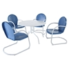 "Griffith Metal 40"" 5-Piece Outdoor Dining Set - Blue Chairs, White Table"