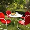 "Griffith Metal 40"" 5-Piece Outdoor Dining Set - Red Chairs, White Table - CROS-KOD1003WH"