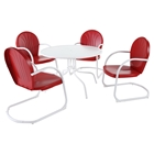 "Griffith Metal 40"" 5-Piece Outdoor Dining Set - Red Chairs, White Table"