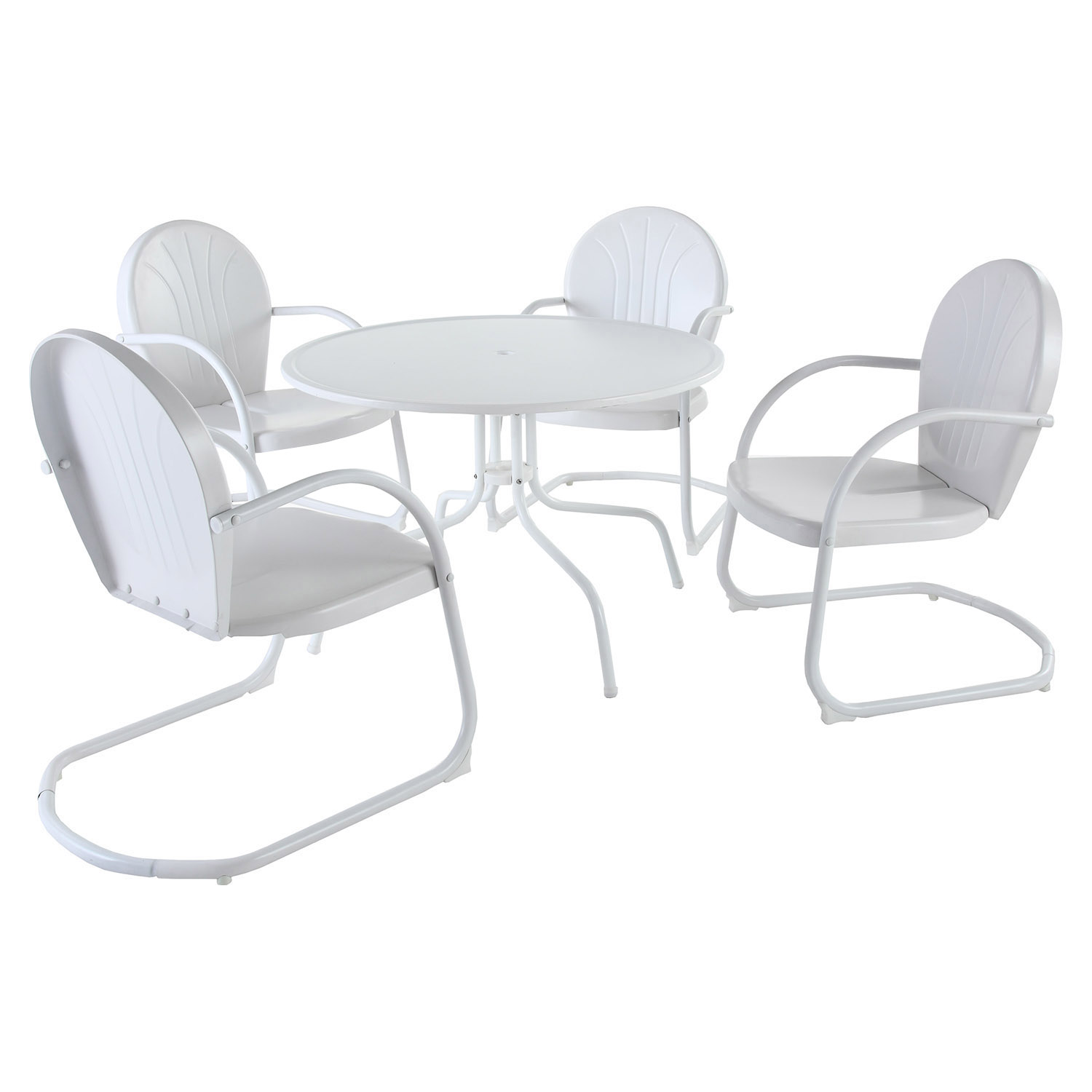 "Griffith Metal 40"" 5-Piece Outdoor Dining Set - White Chairs, White Table"