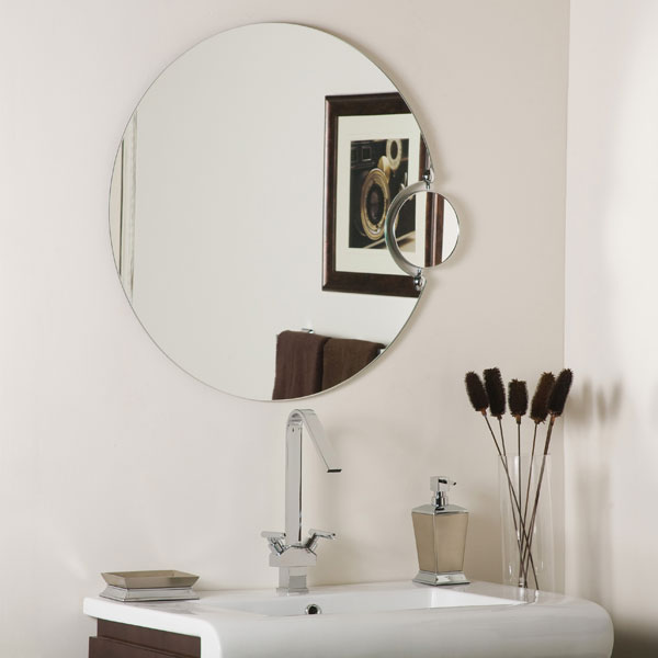 Modern Round Large Frameless Wall Mirror with Magnification - SSM100