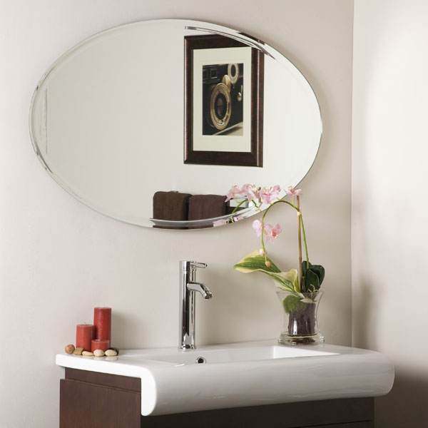 Modern Clean Chrome Frame Wall Mirror