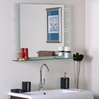 Super Modern Etched Wall Mirror with Shelf