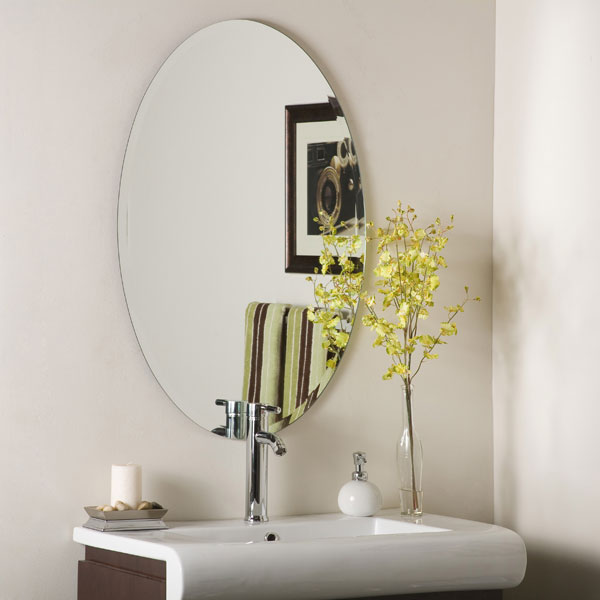 Large Oval Frameless Bathroom Mirror - DWM-SSM2436