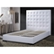 Delano White Leather Platform Bed with Tufted Headboard - DCS-1155-WHT