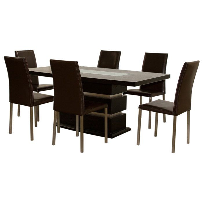 7 PC Dining Set with Leather Side Chairs
