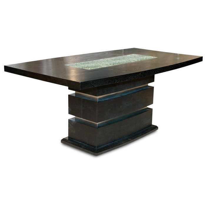 71 Inch Rectangle Dining Table with Crackled Glass Inset