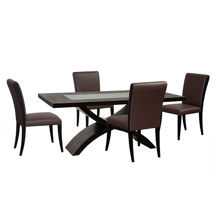 5 Piece Rectangle Dining Set - Mocca Leather Chairs