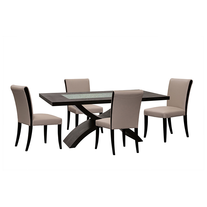 5 Piece Rectangle Dining Set - Taupe Leather Chairs - DS-0700A-990T-5PC
