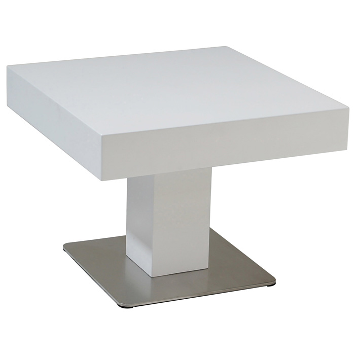 Wood Square End Table - White Lacquer, Stainless Steel Base