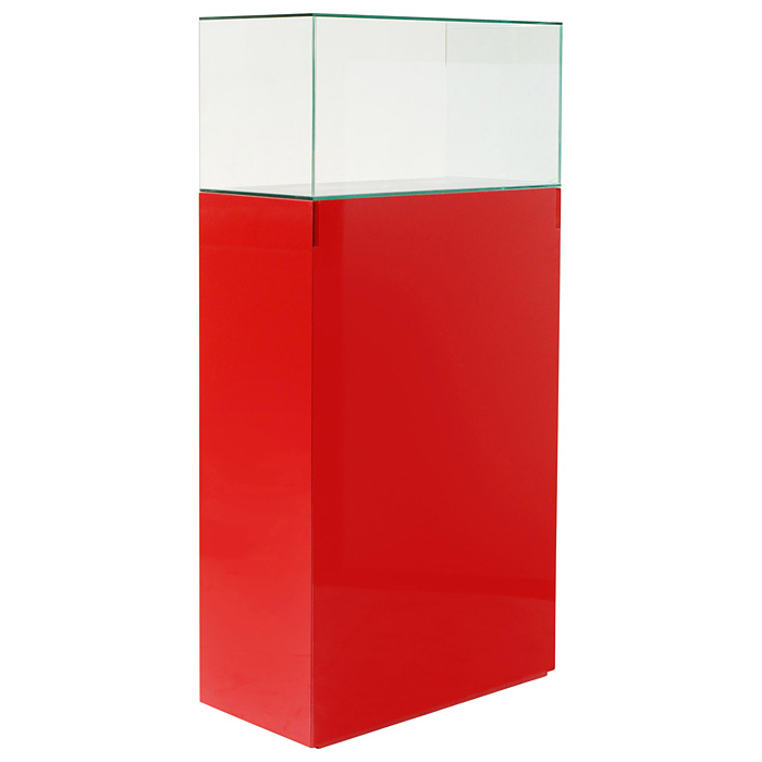 "64"" Rectangular Tower Display Unit - Clear Glass, Red Lacquer"