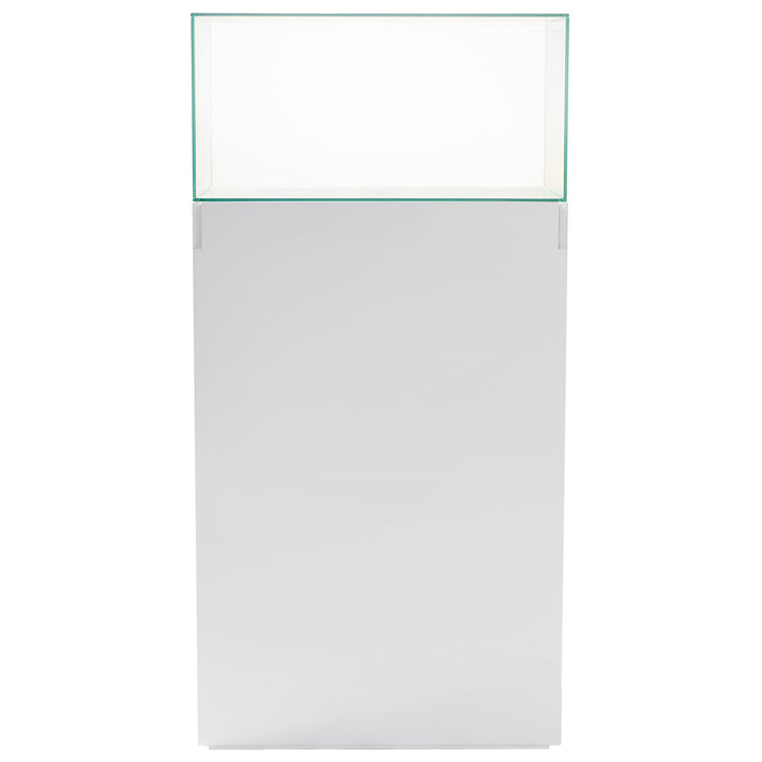 "64"" Rectangular Tower Display Unit - Clear Glass, White Lacquer - DS-11017-CU05W"