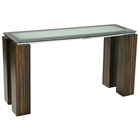 Rectangular Console Table - Crackled Glass, Zebrano Wood