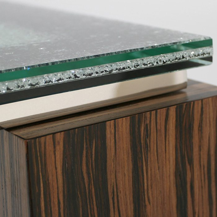Rectangular Console Table - Crackled Glass, Zebrano Wood - DS-11020-CS01