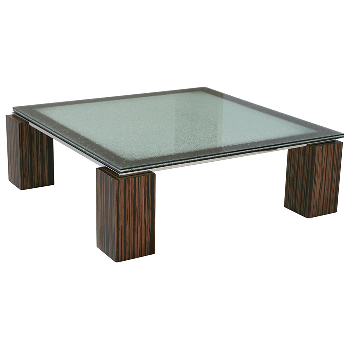 Square Coffee Table - Crackled Glass, Zebrano Wood