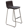 Leatherette Bar Stool - Chocolate, Chrome Base (Set of 2)