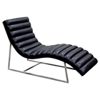 Bardot Chaise Lounge - Bonded Leather, Black
