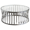 Capri Round Cocktail Table - Clear Tempered Glass Top, Stainless Steel