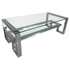 Carlsbad Rectangular Cocktail Table - Clear Glass Top, Shelf