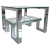 Carlsbad Square End Table - Clear Glass Top, Shelf