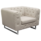 Catalina Button Tufted Armchair - Sand Fabric