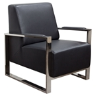 Century Bonded Leather Armchair - Black, Stainless Steel