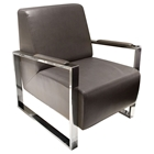 Century Bonded Leather Armchair - Elephant Gray, Stainless Steel