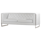 Chelsea Leatherette Sofa - Tufted, White