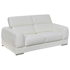 Chicago Loveseat - Adjustable Headrests, Metal Leg, White Leather