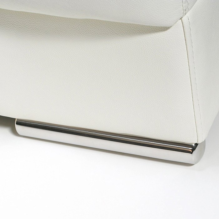 Chicago Loveseat - Adjustable Headrests, Metal Leg, White Leather - DS-CHICAGOLOVEW