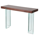 Console Table - Java Veneer Top, Glass Legs