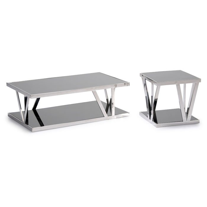Stainless Steel Rectangular Cocktail Table Set