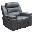 Duncan Dual Reclining Armchair - Leatherette, Slate Gray