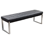 Knox Leatherette Backless Bench - Tufted, Black