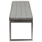 Knox Leatherette Backless Bench - Tufted, Gray - DS-KNOXBEGR