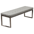 Knox Leatherette Backless Bench - Tufted, Gray
