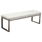 Knox Leatherette Backless Bench - Tufted, White