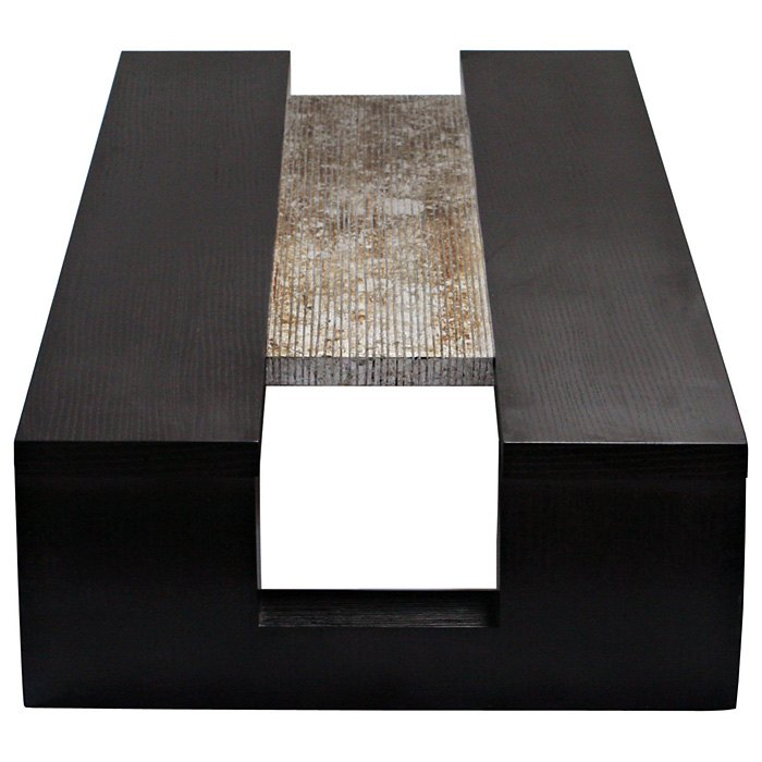 Low Profile Coffee Table - Dark Walnut, Two Tone Silver Foil Accent - DS-L0730S