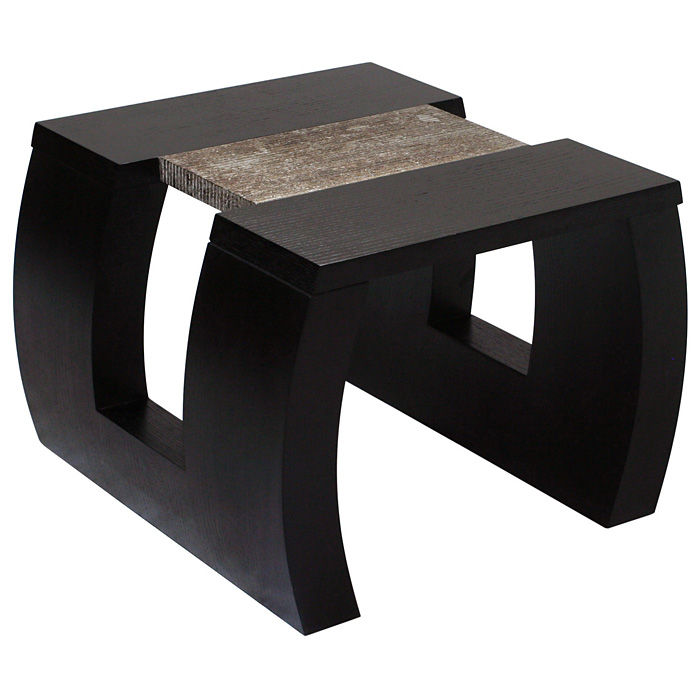 Low Profile End Table - Dark Walnut, Two Tone Silver Foil Accent