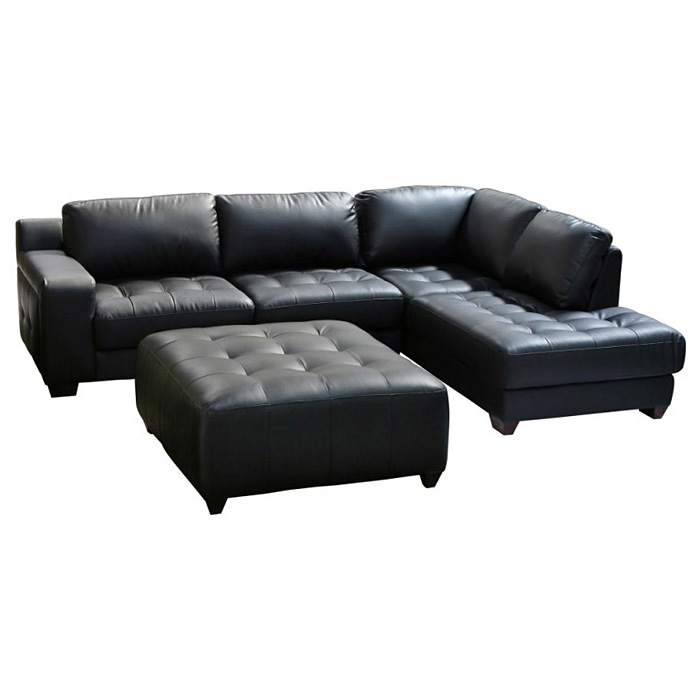 Laredo Chaise Sectional Sofa and Ottoman Set - Black Leather - DS-LAREDORF2PCSECTOTTOB