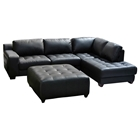 Laredo Chaise Sectional Sofa and Ottoman Set - Black Leather