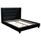 Madison Platform Bed - Tapered Wings, Tufted, Black - DS-MADISONNBL-BED