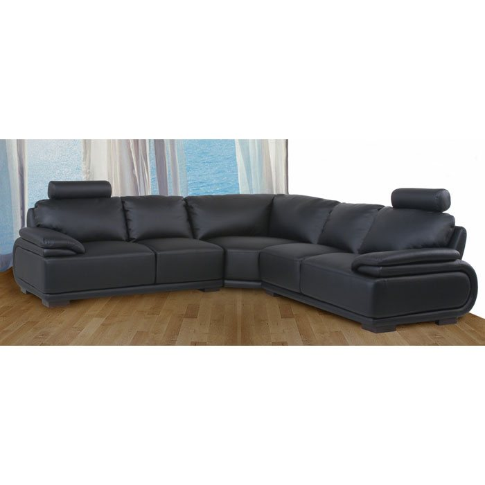 Milano Three Piece Leather Sectional with Headrests