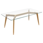 Monarch Rectangle Cocktail Table - Glass Top, Clear, Oak