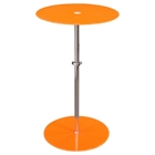 Orbit Glass Accent Table - Adjustable Height, Orange, Chrome