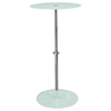 Orbit Glass Accent Table - Adjustable Height, White, Chrome