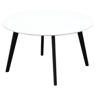 Ozone Round Cocktail Table - Black Legs, White Top