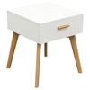 Perch End Table - 1 Drawer, White, Oak